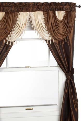 Regal Home Collections Amore 54 84-Inch Luxurious 5PC Attached Valance, Brown Window Curtain Set