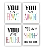 "HPNIUB Typography Watercolor Words Inspirational Quote&Saying Modern Art Print Set of 4 (12""X16"" Canvas Painting,Motivational Phrases Wall Art Poster for Nursery or Kids Room Home Decor,No Frame"