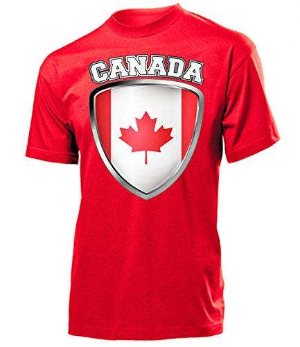 Canada Wappen 5494 Fussball Fanshirt Fan Shirt Tshirt Fanartikel Artikel Männer Herren T-Shirts Rot XXL