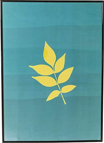 Kare Design Bild Frame Leaf, 71x51cm, Bild mit schwarzem Bilderrahmen, gelbe Blätter, blauer Hintergrund, Bild Herbst