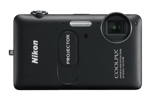 NIKON - Coolpix S1200pj Black 14.1-Megapixel Zoom Digital Camera with Built-In Projector