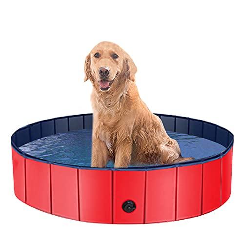 Doggy Pool rutschfest Hundepool, Katzenpool, erschleißfest Swimming Pool Schwimmbecken Planschbecken Badewanne für Hunde aus Umweltfreundliche PVC mit Ablassventil (120cm)