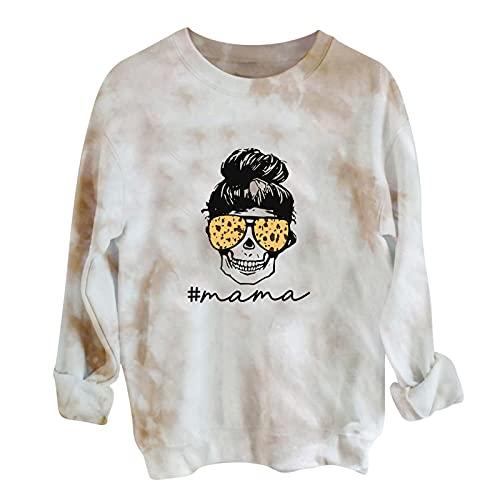 Wave166 Disfraz de Halloween para mujer con estampado de calabaza, jersey de cuello redondo, camiseta de manga larga, sudadera para otoño, moda callejera, carnaval, fiesta, beige, L