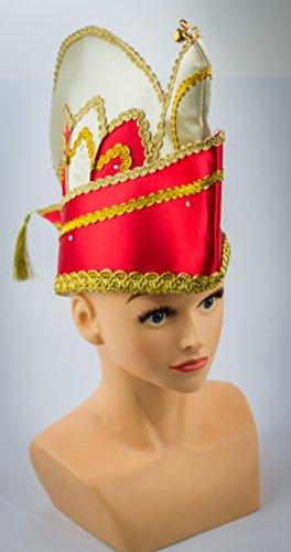 HaPe-Kopa Prinzenmütze Komiteemütze Ornatsmütze Elferratsmütze rot-Weiss-Gold bis KW 63 mit Strasssteine