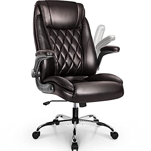 NEO CHAIR Office Chair Computer High Back Adjustable Flip-up Armrests Ergonomic Desk Chair Executive Diamond-Stitched PU Leather Swivel Task Chair with Armrests Lumbar Support (Dark Brown)
