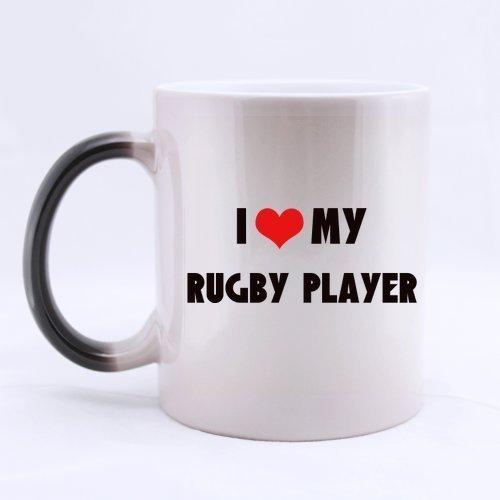 Año Nuevo Día de Navidad Regalos para jugadores de rugby Dicho divertido Amo a mi jugador de rugby Té Taza de café Taza de cerámica de 11 onzas