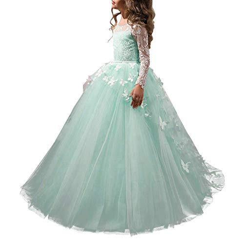 Abaowedding Lovely Flower Girl Dress Lace Long Sleeves Prom Gown (Aqua, 8)