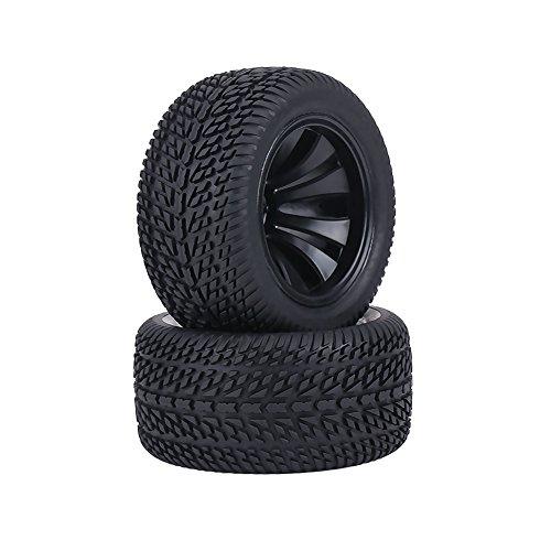 Dilwe 2Pcs RC Neumáticos del Coche, Neumáticos de Goma y Rueda de Cubos de Plástico para 1:12 RC Coche Racing Coche Truck