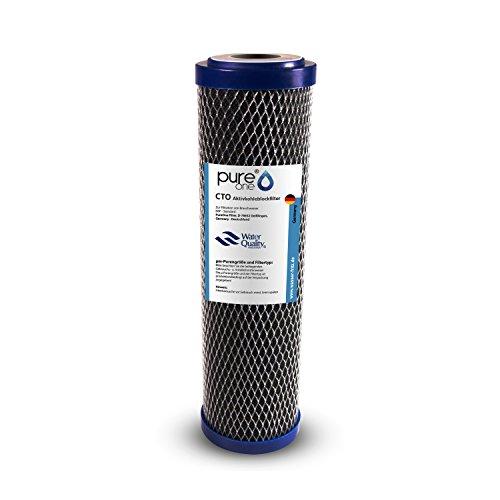 PureOne CTO. Aktivkohle Filterkartusche mit Sedimentschicht Vorfilter. 100% Aktiv-Kohle in gepressten Feinheiten je nach Auswahl von 1µ bis 50µ - Hochqualitativ für Brauchwasser und Trinkwasser 5µ