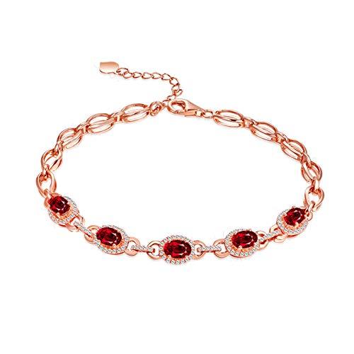 KnSam Armband Damen Verstellbar Damen Armband Echt Silber Elegant Verlobung Armkette Aus 18 K Gold Mit 2.3Ct Rot Rubin Und Diamand Rose Gold
