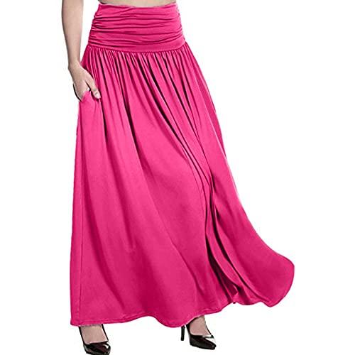 Falda larga sólida de las mujeres de la cintura de las señoras casual Swing Gypsy falda larga