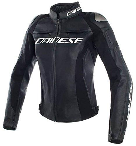 Dainese Damen Motorrad Lederjacke Racing 3 Lady Pelle, BLACK/BLACK/BLACK, 48