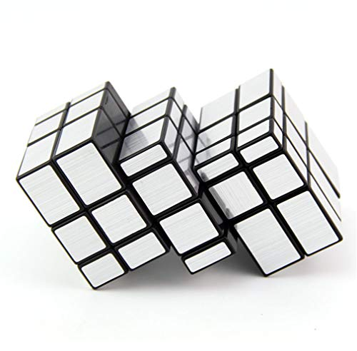 LBMF Espejo de Dos Piezas en Forma de Cubo de Rubik Bricolaje límite Bundle Espejo Giratorio 2 siamés Divertido Puzzle Cubo de Rubik,Plata