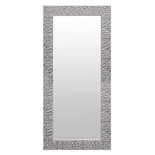 Decowood - Espejo de Pared Decorativo 'Nilo' de Estilo Étnico, Plateado, Grande - 70x150 cm