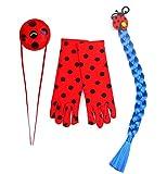 furein Kit Trenza Sintética Azul / Guantes y Bolso para Disfraz Personaje Ladybug Modelo Talla Única para Mujer (52059)