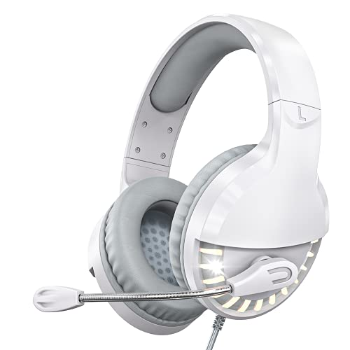 VersionTECH. White Gaming Headset PS5 PS4 Game Headphones Xbox One Gaming Earphones with Mic, LED Lights for PS5/ PS4/ Xbox 1/ PC/Mac Computer/Switch, Kids, Girls