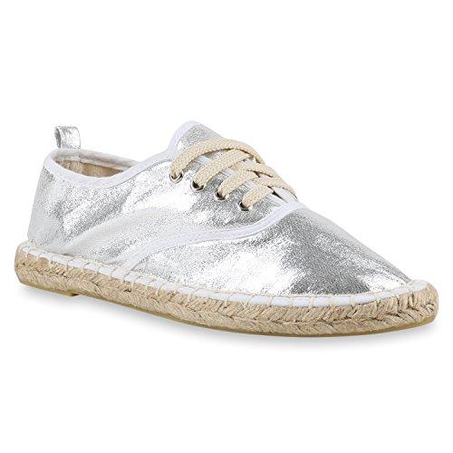stiefelparadies Damen Slipper Flats Espadrilles SpitzeFlache Freizeit Pailletten Schnürer Espadrille Schuhe 143441 Silber Silver Schnürer 36 Flandell