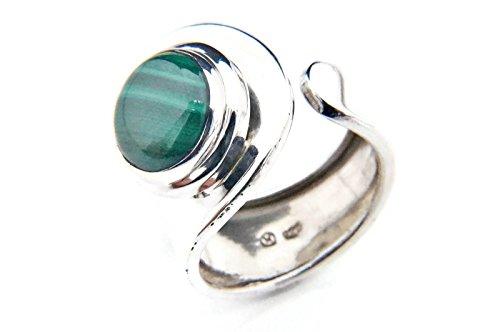 Malachit Ring 925 Silber Sterlingsilber Damenring grün verstellbar (MRI 62-10)