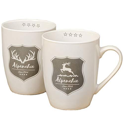 Boltze Home Collections Lot de 2 Mugs en Porcelaine Motif cerf Blanc 350 ML