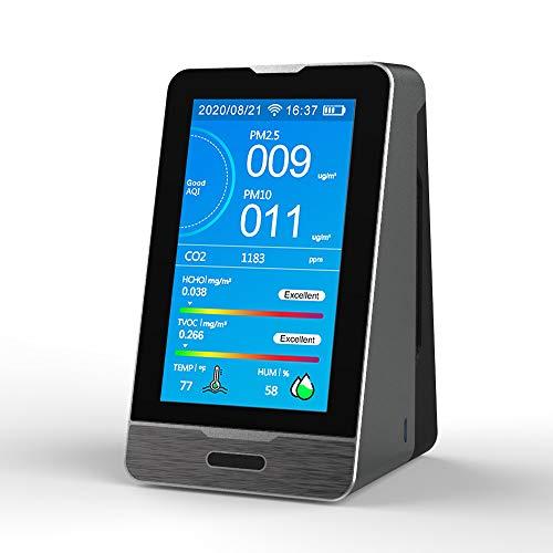 KKmoon Luftqualität Messgerät Kohlendioxid CO2 Detektor 400-5000PPM HCHO TOVC PM2,5 PM1,0 PM10 Detektor Temperatur Luftfeuchtigkeit Anzeige Tuya App WiFi Handy-Verbindung mit Datenspeicherfunktion