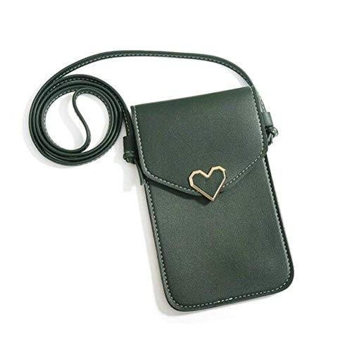 Touchable Screen PU Leather Change Bag,Women Heart Shaped Mobile Phone Bag Wallet Crossbody Mini Shoulder Pouch (Dark Green)