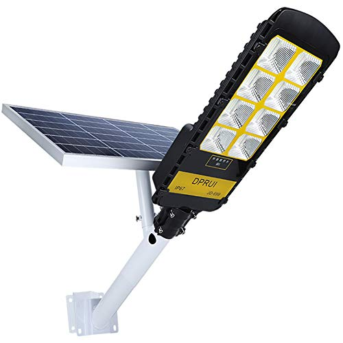 300W Solar Street Lights Outdoor, DPRUI IP67 448 LEDs 20000 Lumens and New Lithium Battery,Dusk to Dawn Security Flood Light Auto On/Off with Remote Control, for Garden, Yard