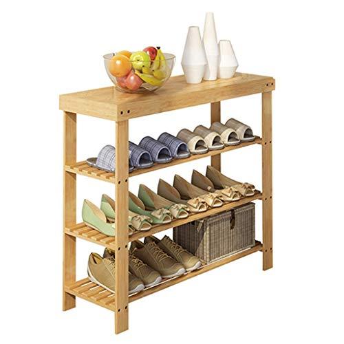 Scarpiere Scarpiera a 3 livelli Scarpiera verticale Bambù naturale Risparmia spazio 60/70/80/90 X 28 X 70 CM (Larghezza X Profondità X Altezza) Deposito scarpe per corridoio (Dimensioni: 90 cm)
