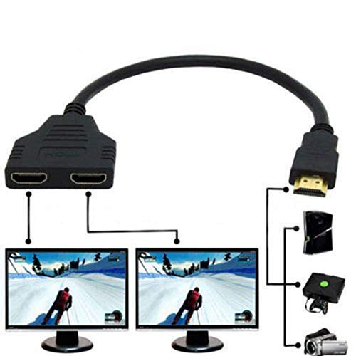 1080P HDMI macho a doble HDMI hembra 1 a 2 vías Splitter Cable adaptador convertidor para reproductores de DVD/PS3/HDTV/STB y la mayoría de los proyectores LCD