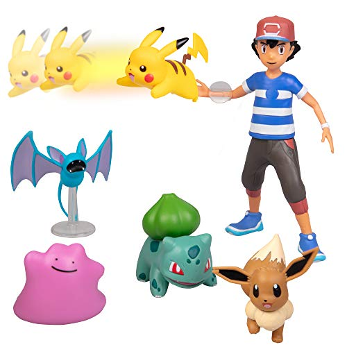 Pokémon Battle Figure Multi Pack Toy Set with Launching Action - Generation 1 - Includes Ash, Pikachu, Zubat, Eevee, Ditto and Bulbasaur - 6 Pieces - Ages 4+