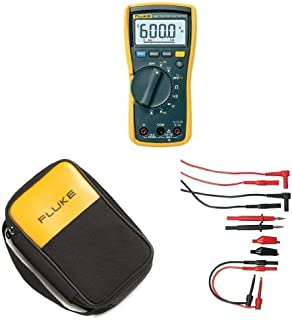 Fluke 115 Compact True-RMS Digital Multimeter with Polyester Soft Carrying Case and Electronic Test Lead Kit