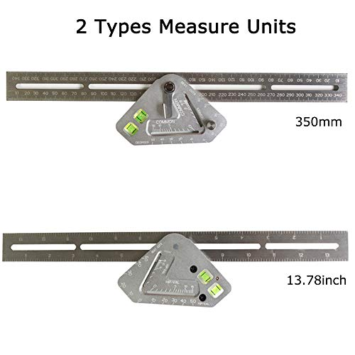 Angle Ruler, KKmoon Angle Ruler Multi-function Revolutionary Carpentry Ruler Woodworking Measuring Tool T Ruler Aluminum Alloy Measuring Square Ruler