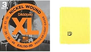 ダダリオ エレキギター弦 ニッケル Regular Light .010-.046 EXL110-3D 3set入りパック + Planet Waves クロス PWPC2 Untreated Polish Clothセット