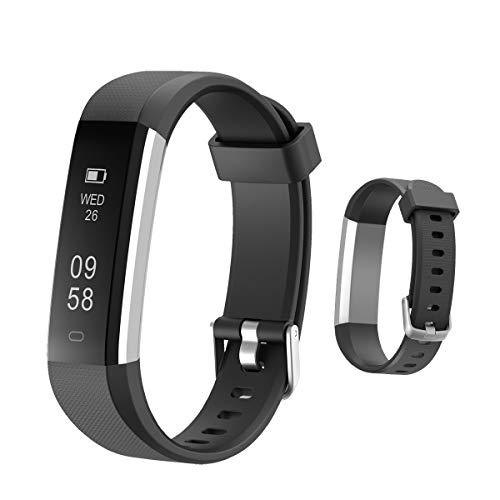 HOTSO Reloj Inteligente, Cómodo Smartwatch Pulsera Deportiva con Pantalla Táctil para Diferente Muñecas Correa Longitud Ajustable IP67 Sumergible - Negro