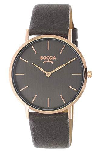 Boccia Damen Analog Quarz Uhr mit Echtes Leder Armband 3273-11
