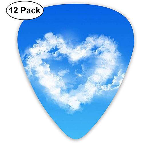Herzförmige Cloud-Plektren 12 Ukulelen-Plektren, einschließlich 0,46 mm, 0,71 mm, 0,96 mm Akustikgitarre