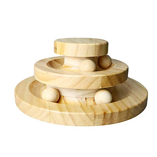 LUCKSTAR Funny Roller Cat Toy-Double Layer Wooden Track Balls Turntable for Kitty Cat ,Kitty Cat Charmer for Interactive Play Exercise for Kittens Cat Toys Interactive Fun