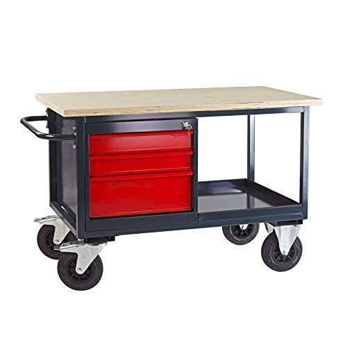 Werkbank mobil 130x60x83 cm mit 3 Schubladen + Ablageboden Werktisch Tischwagen