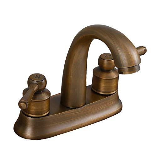 NMDCDH Lavabos Grifo para Baño, Grifo de Cuenca Mezclador Agua Fría y Caliente De Cobre Retro, Grifo con Dos interruptores, Grifo bañera,Antiguo