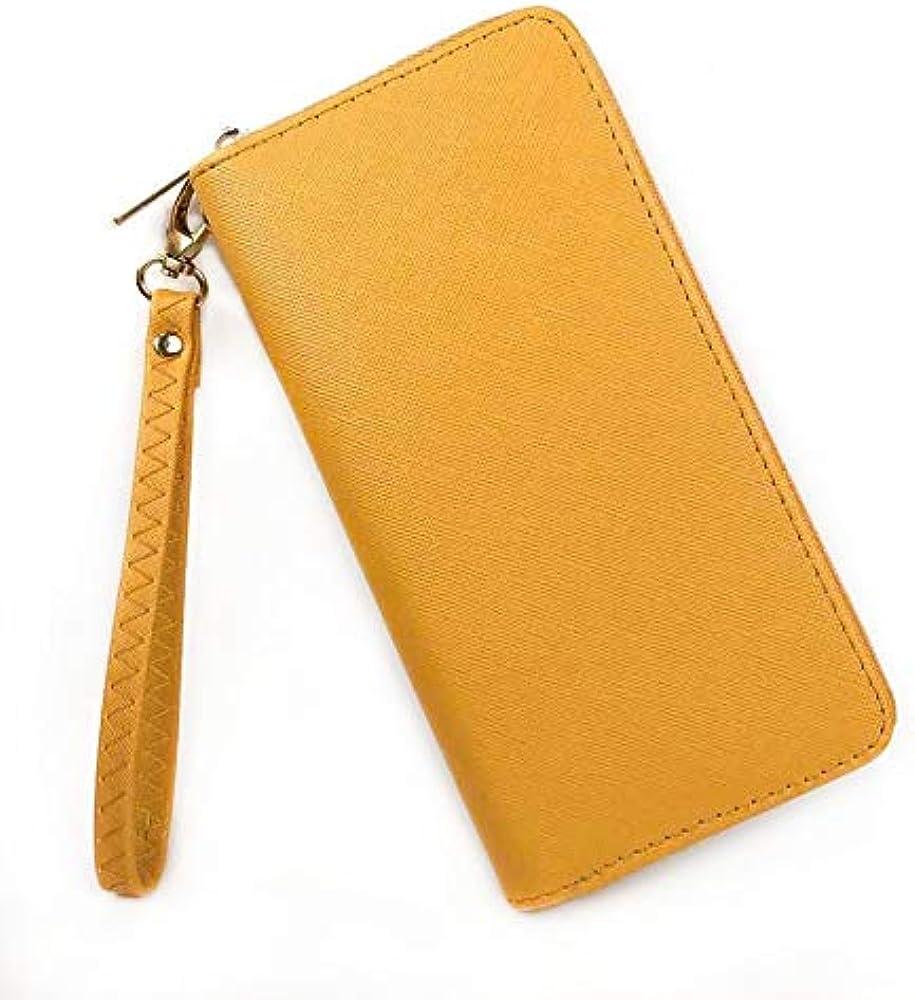 Eliox, portafoglio da donna, con portamonete, porta carte di credito, in pelle sintetica, giallo
