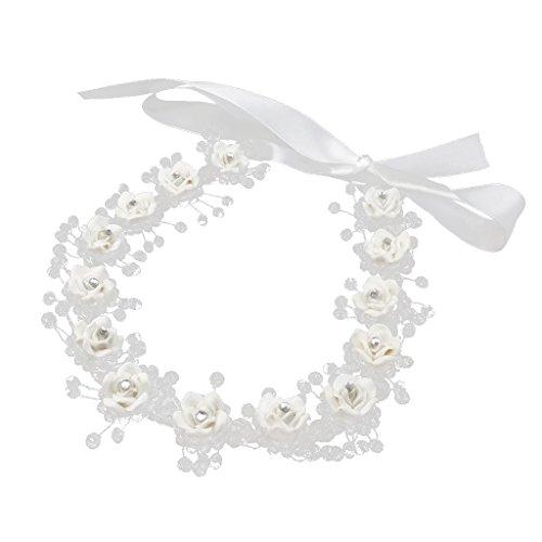 Frauen Hochzeit Haar Blumengirlande Krönen Stirnband Blumenkranz Haarband mit Strass Dekor