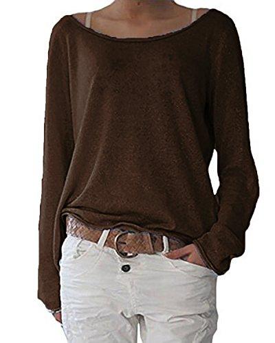 ZANZEA Damen Langarm Lose Bluse Hemd Shirt Oversize Sweatshirt Oberteil Tops Kaffee EU 40-42/Etikettgröße M