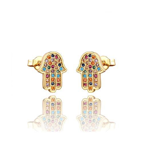 Pendientes de estrella arcoíris con circonita, joya para mujer, oro de Amor Sourire, flor, joyas regalo de Navidad, E1219-G-Gold