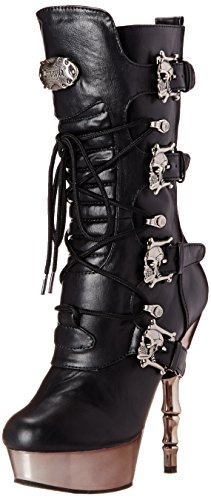 Demonia MUERTO-1026, Damen Halbschaft Stiefel, Schwarz (Schwarz (Blk Vegan Leather/Pewter Chrome)), 39 EU (6 Damen UK)