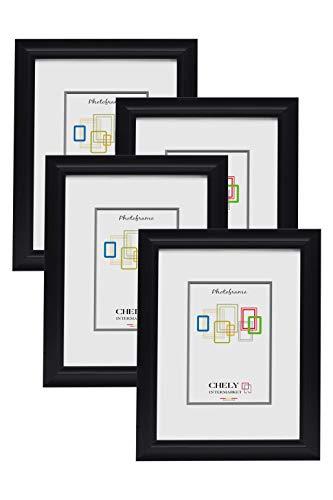 Chely Intermarket, Marco de Fotos de 13x18 cm (Negro) Mod-3700 (Pack 4 Unds) Estilo galería   Marco de plástico para Decoración de Casa   Fotografías de Boda   moldura con Relieve.(3700-13x18*4-0,25)