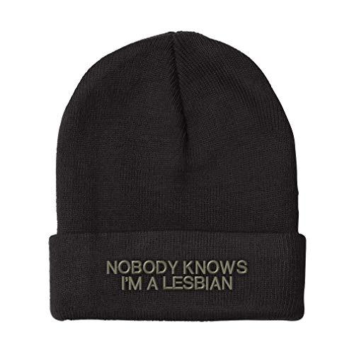 Custom Beanie for Men & Women Nobody Knows I'm A Lesbian LGBTQ Embroidery Acrylic Skull Cap Hat Black Design Only