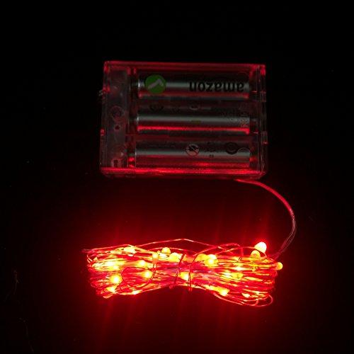 Ficelle des Lumières Fée Micro LED 3AA à piles - Rouge
