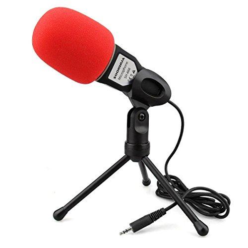 PC Mikrofon, Kondensator Mikrofon ,SOONHUA Ansteck Mikrofonmit Ständer 3.5MM Klinke Mit Mikrofon Tischständer Windschutz Für Smartphone Laptop Für Gaming Aufnahmegerät Youtube