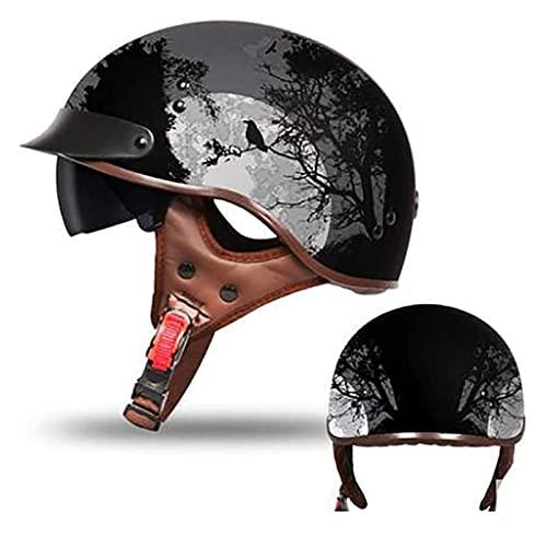 KKAAMYND Ciclomotor Casco,Classic Casco Moto Jet Casco Moto Abierto Custom Scooter para Mujer Hombre Adultos con Visera Retro Casco Moto, ECE Homologado (Color : B, Size : XL)