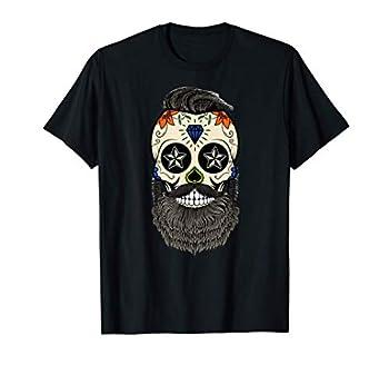 Mens Beard Calavera Sugar Skull Bearded Sugar Skull Tattoo T-Shirt