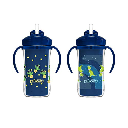 Dr. Brown's Milestones Insulated Straw Cup, Blue, 2 Pack